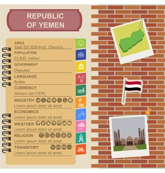 Yemen infographics statistical data sights vector