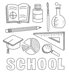 Back to school supplies sketchy notebook doodles vector