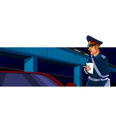 Cartoon male police officer with a receipt and pen vector