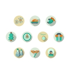 Christmas attributes round flat icons set vector