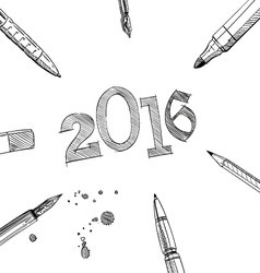 2016 new year frame pens vector