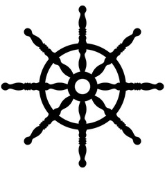 Ship wheel silhouette isolated on white vector
