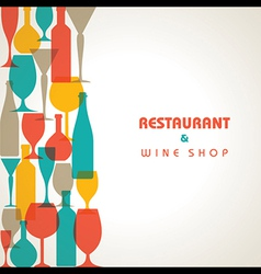 Abstract retro cocktail glass and bottle backgroun vector image