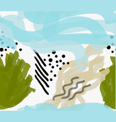Artistic color brushed sea weeds vector