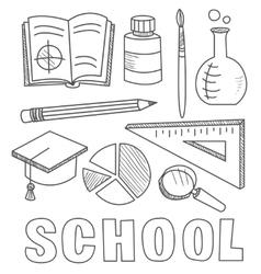 Back to school supplies sketchy notebook doodles vector