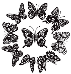 butterflies silhouette for tattoo vector image vector image