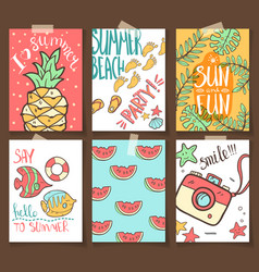 collection of summer cards grettings and vector image vector image