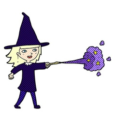 Comic cartoon witch girl casting spell vector