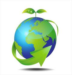 Earth and green plant vector image vector image