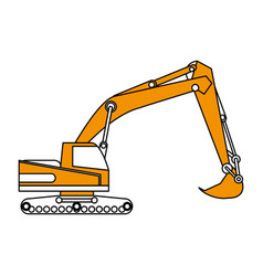 Excavator or backhoe construction heavy machinery vector