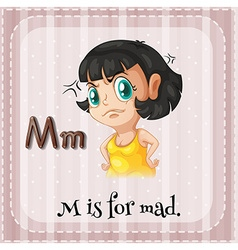 Flashcard letter m is for mad vector