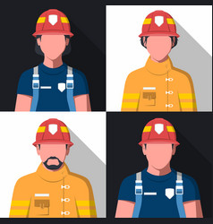 flat avatars of fire fighters vector image vector image