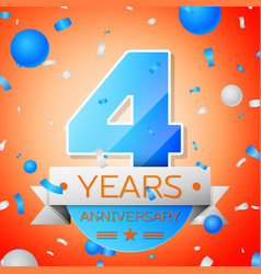 Four years anniversary celebration vector