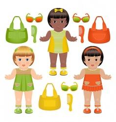 girls dolls vector image