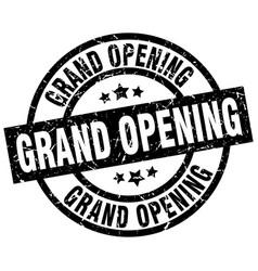Grand opening round grunge black stamp vector