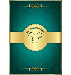 Green decorative restaurant menu cover vector image vector image