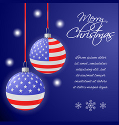 greeting card or square banner with us flag vector image