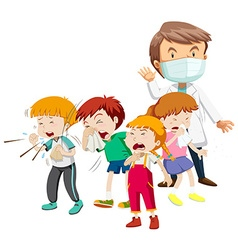 Kids being sick and doctor vector image vector image