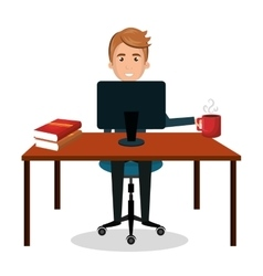 man cartoon working laptop with book and cup vector image