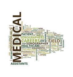 Medical field careers text background word cloud vector