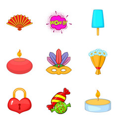 Memorable event icons set cartoon style vector