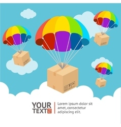 parachute delivery card vector image