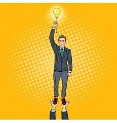 Pop Art Businessman with Lightbulb vector image