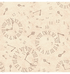 Seamless background ancient clock face on old vector image vector image
