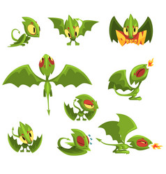Set of cartoon green baby dragon character in vector