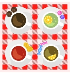Set of coffee and tea cups top view on a checkered vector