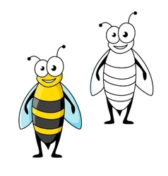 Smiling cartoon black and yellow striped wasp vector image
