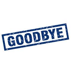 Square grunge blue goodbye stamp vector