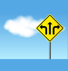 yellow street sign with direction arrows vector image