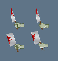 Zombie hand grab bleeding knife vector