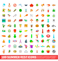 100 summer rest icons set cartoon style vector