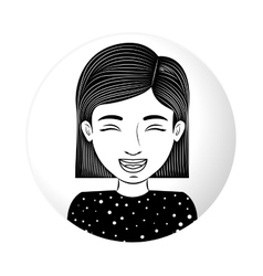 Sphere half body teen smiling with eyesclosed vector