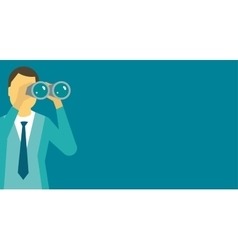 Person man looking ahead through binoculars vector