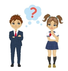Schoolgirl and schoolboy have a question mark sign vector