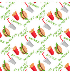 Fast food seamless pattern with burgers vector