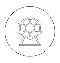 Ferris wheel icon in outline style isolated on vector