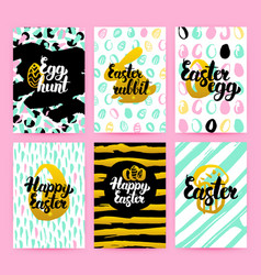 Happy easter trendy hipster posters vector