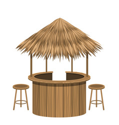 Beach bar thatch vintage lounge cafe isolated vector