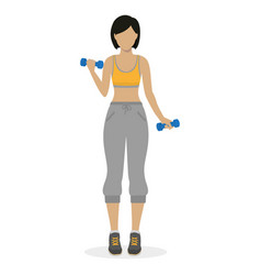 Girl with dumbbells vector