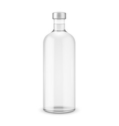 Glass vodka bottle with silver cap vector
