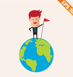 Business man standing on earth- - eps10 vector