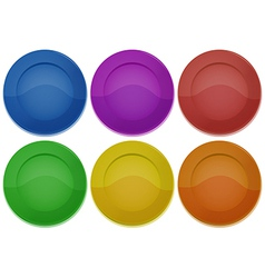 Six colorful round plates vector image