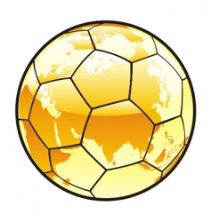 Soccer ball with world map vector