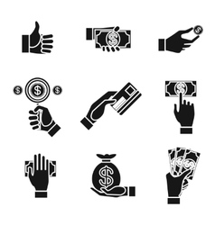 Icons of hands holding money vector