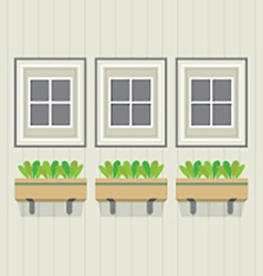 Closed windows with pot plants below vector