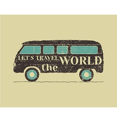 Summer vintage camp travel poster vintage rv vector